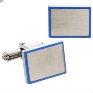 🌸NWT brushed silver and blue detail cuff links